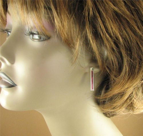 Long red/pink stud earrings, made with Swarovski Elements. Sterling silver.