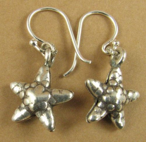Starfish earrings. Fine and sterling silver.  Designer handmade.