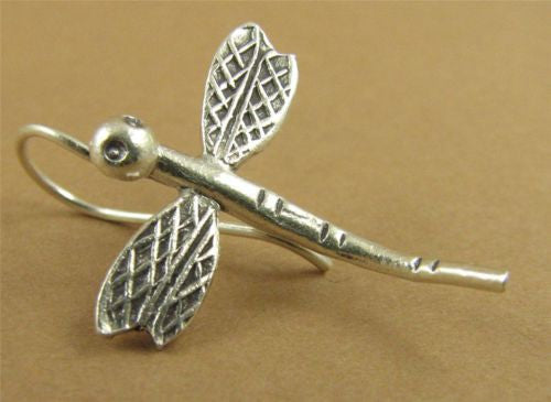 Dragonfly earrings. Solid fine /sterling silver. Hilltribe.
