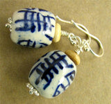 Chinese ceramic earrings. Sterling silver. Designer handmade.