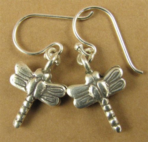 Dragonfly earrings. Fine and sterling silver.  Handmade.