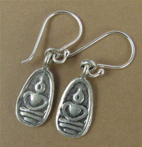 Buddha earrings. Solid fine silver with sterling hooks. Thai style. Handmade
