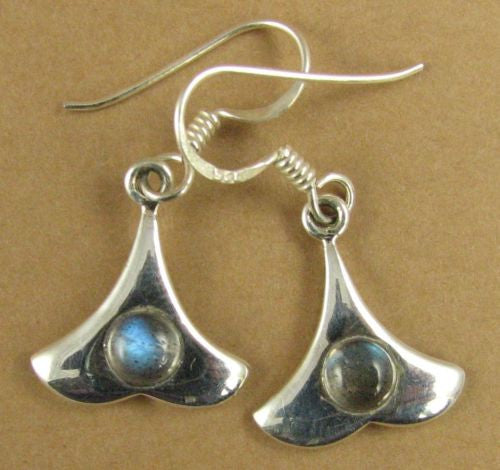 Labradorite and silver drop earrings. Sterling silver.