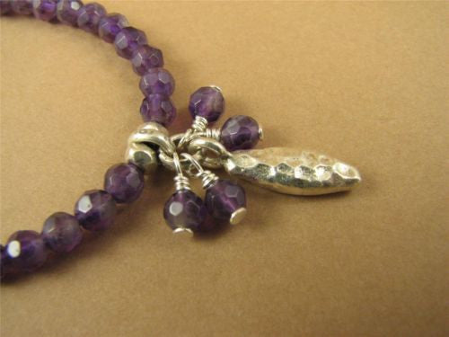 Amethyst and silver necklace. Cluster. Fine & sterling silver. Handmade.