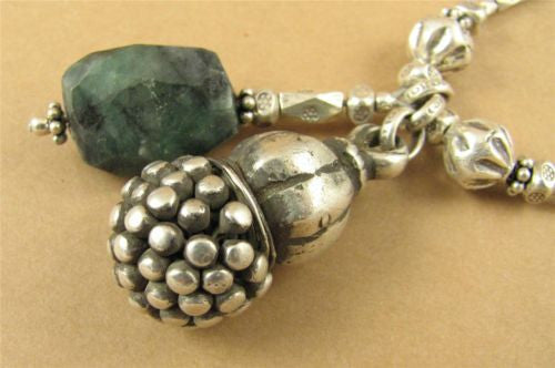 Old tribal silver and emerald necklace.  Long. Fine & sterling silver. Handmade