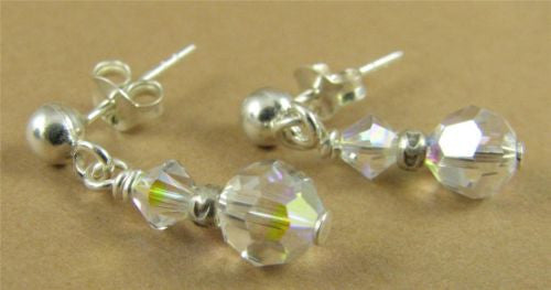 Aurora borealis stud earrings made with swarovski elements & sterling silver.