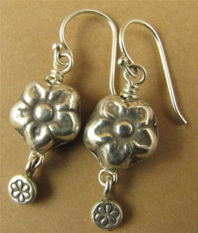 Flower earrings with dangle. Fine and sterling silver.  Handmade.