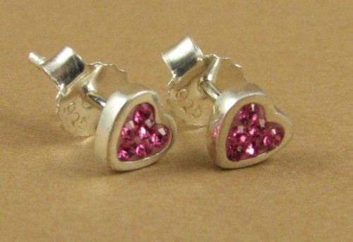 Heart pink crystal earrings, made with Swarovski Elements. Studs.Sterling silver
