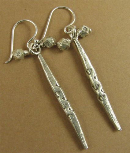 Long silver drop cluster earrings. Fine & sterling silver. Handmade.