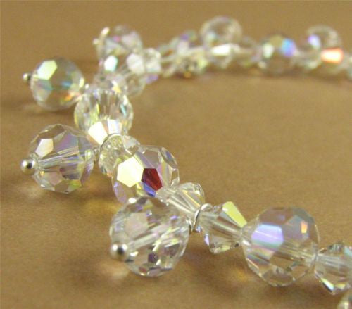 Aurora borealis crystal bracelet made with swarovski elements & sterling silver