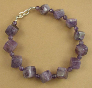 Amethyst cubes/squares bracelet. Fine and sterling silver. Handmade.