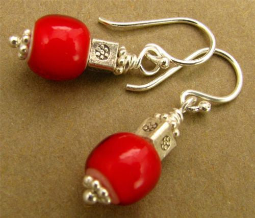 Bright red African glass beads earrings. Fine & Sterling silver. Handmade.