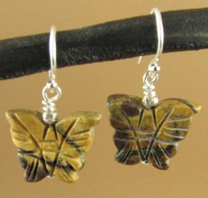 Butterfly earrings. Carved jasper. Sterling silver. Handmade.