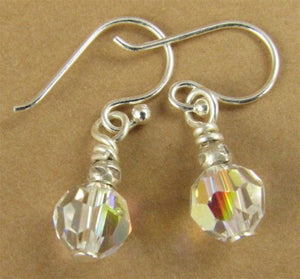 Small aurora borealis earrings made with swarovski elements & sterling silver.