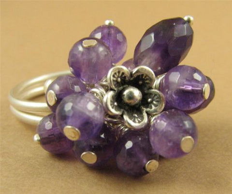 Amethyst cluster flower ring. Fine & sterling silver. Adjustable-fits any size.