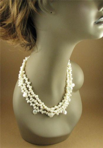 Chunky pearl necklace. 3 strands. Fine and Sterling silver. Handmade.