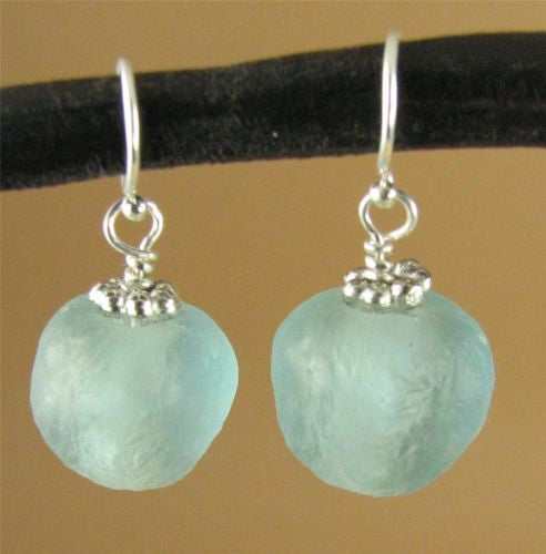 Turquoise / light blue African glass bead earrings. Sterling silver.