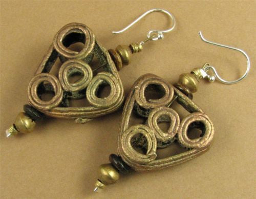 Large African bead earrings. Copper /brass. Triangle. Sterling silver. Handmade.