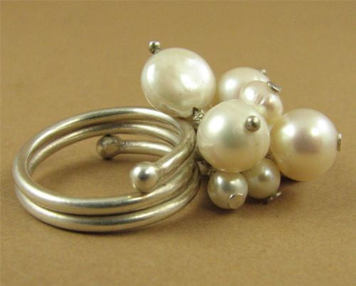 Pearl & silver cluster ring. Fine/ sterling silver. Adjustable-fits all sizes.