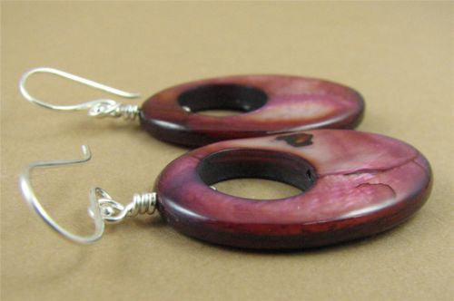 Large purple /pink shell hoop earrings. Oval. Iridescent. Sterling silver.