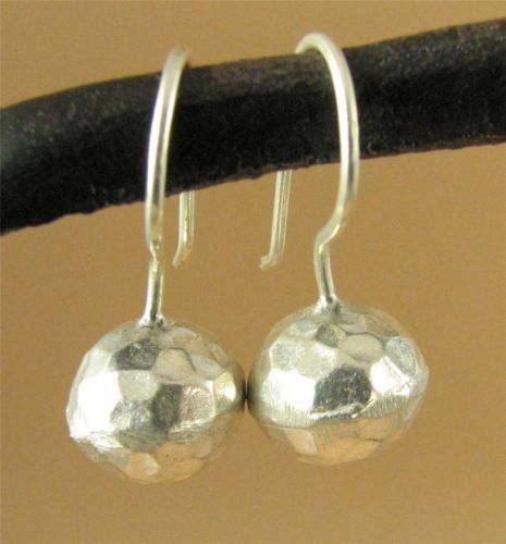 Silver hammered ball earrings. Fine silver.