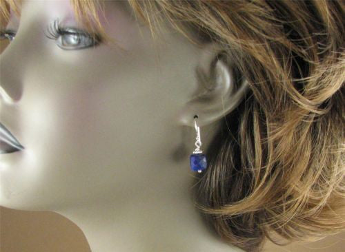 Lapis lazuli earrings. Blue. Sterling silver. Square/cube. Handmade.