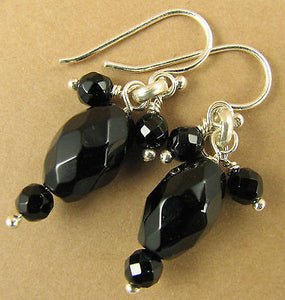 Black onyx and silver cluster earrings. Dangle. Sterling silver. Handmade.