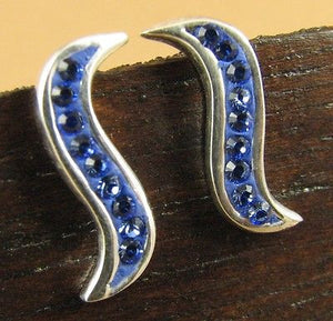 Bright blue crystal earrings, made w/Swarovski Elements.Studs. Sterling silver