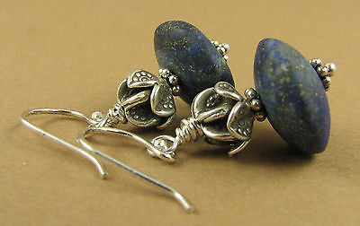 Lapis Lazuli and silver earrings. Fine and sterling silver.  Designer handmade.