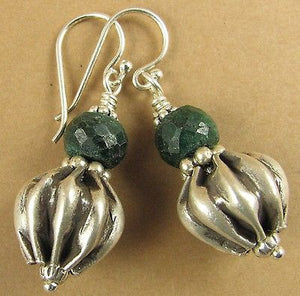 Emerald and silver earrings. Fine and sterling silver.  Designer handmade.
