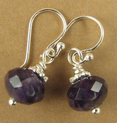 Small amethyst and silver dangle earrings. Sterling silver. Handmade.