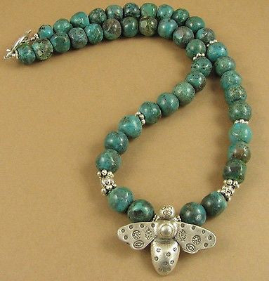 Bee and turquoise necklace. Fine and sterling silver. Handmade.