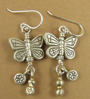 Large butterfly earrings. Dangles. Solid fine silver. Sterling hooks. Handmade.