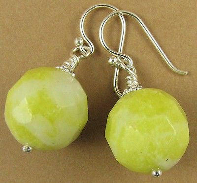 Lemon jasper and sterling silver earrings. Yellow, faceted. Dangle.