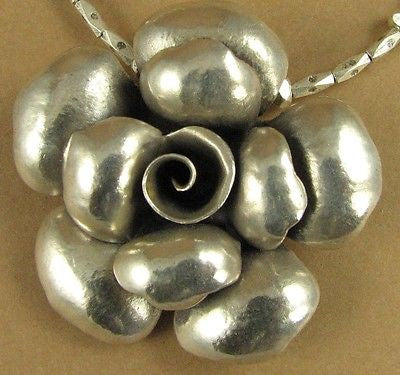 Large single rose flower necklace. Fine and sterling silver. Handmade.