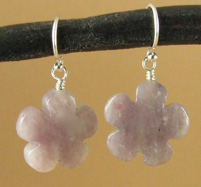 Lavender jasper and silver dangle earrings. Flower. Sterling silver. Handmade.