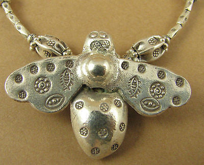 Bee necklace. Fine / sterling silver. Designer handmade.