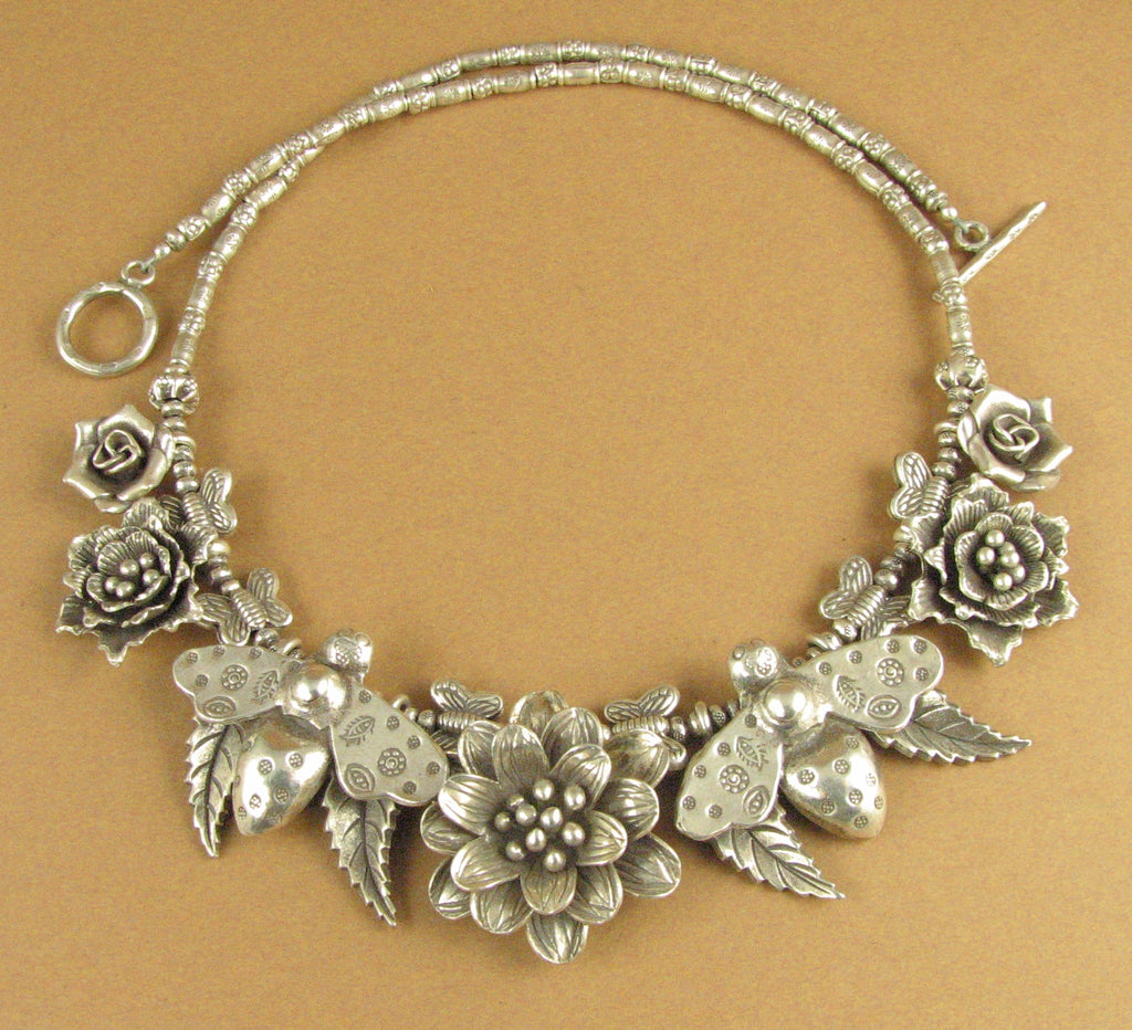 Bee, flower and leaf statement necklace. Solid fine silver. 925. Handmade.