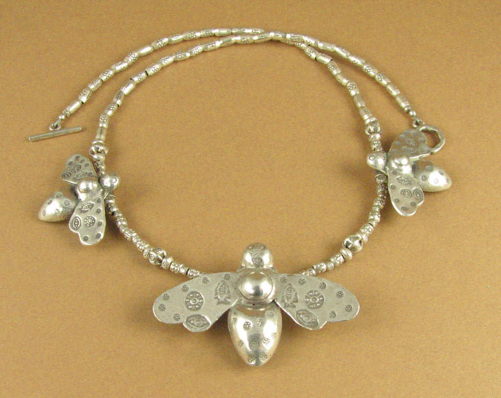 Bee necklace with 3 large bees. Solid fine silver, 925. Tribal .Handmade