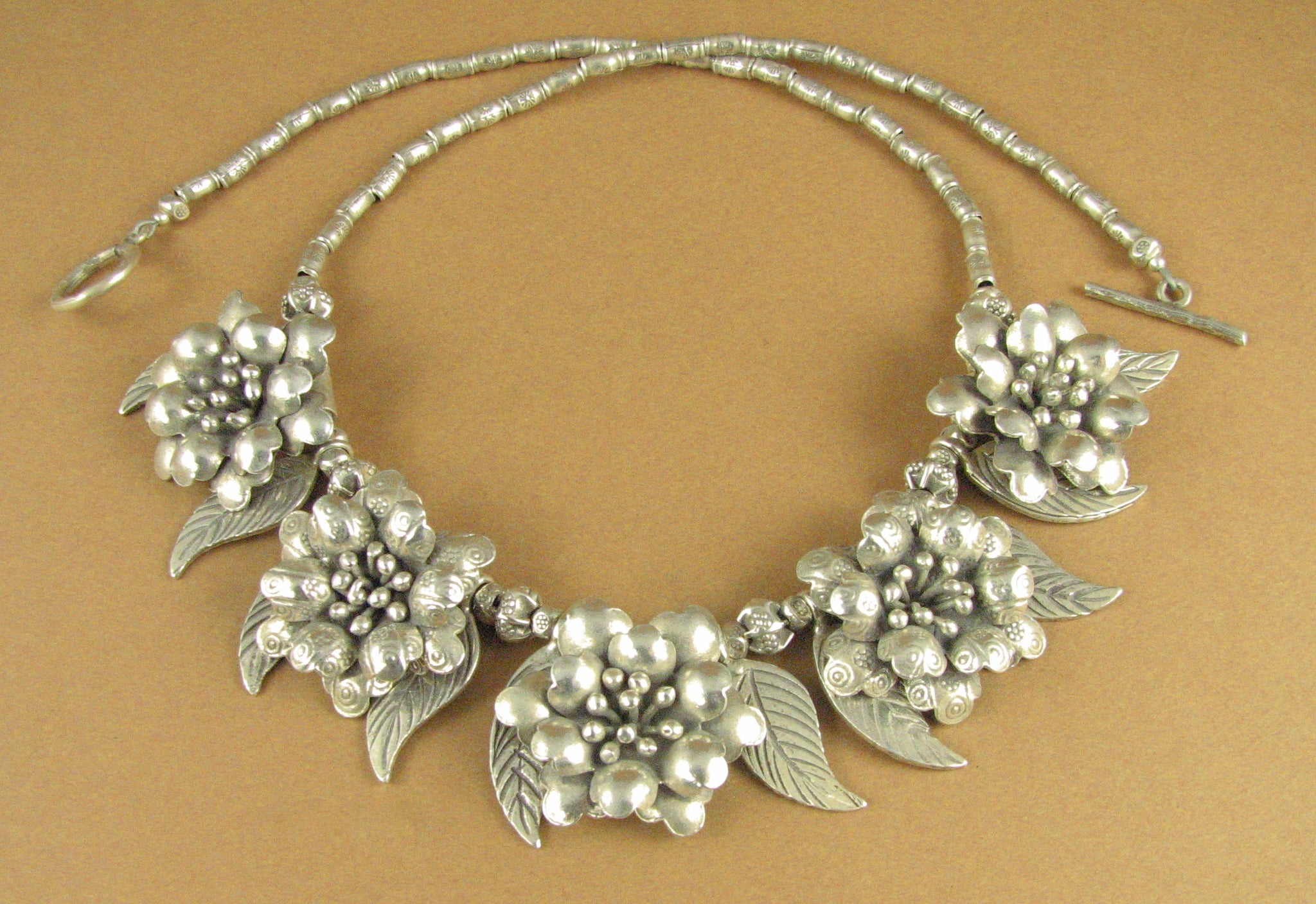 Flower and leaf statement necklace. 5 flowers. Solid fine silver, 925. Handmade