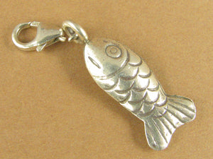 Fish shape clip on charm. Long. 2 sided. Lobster clasp. Sterling silver 925.
