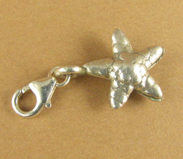 Starfish clip-on charm. Star. 2 sided. Lobster clasp.Sterling silver 925.