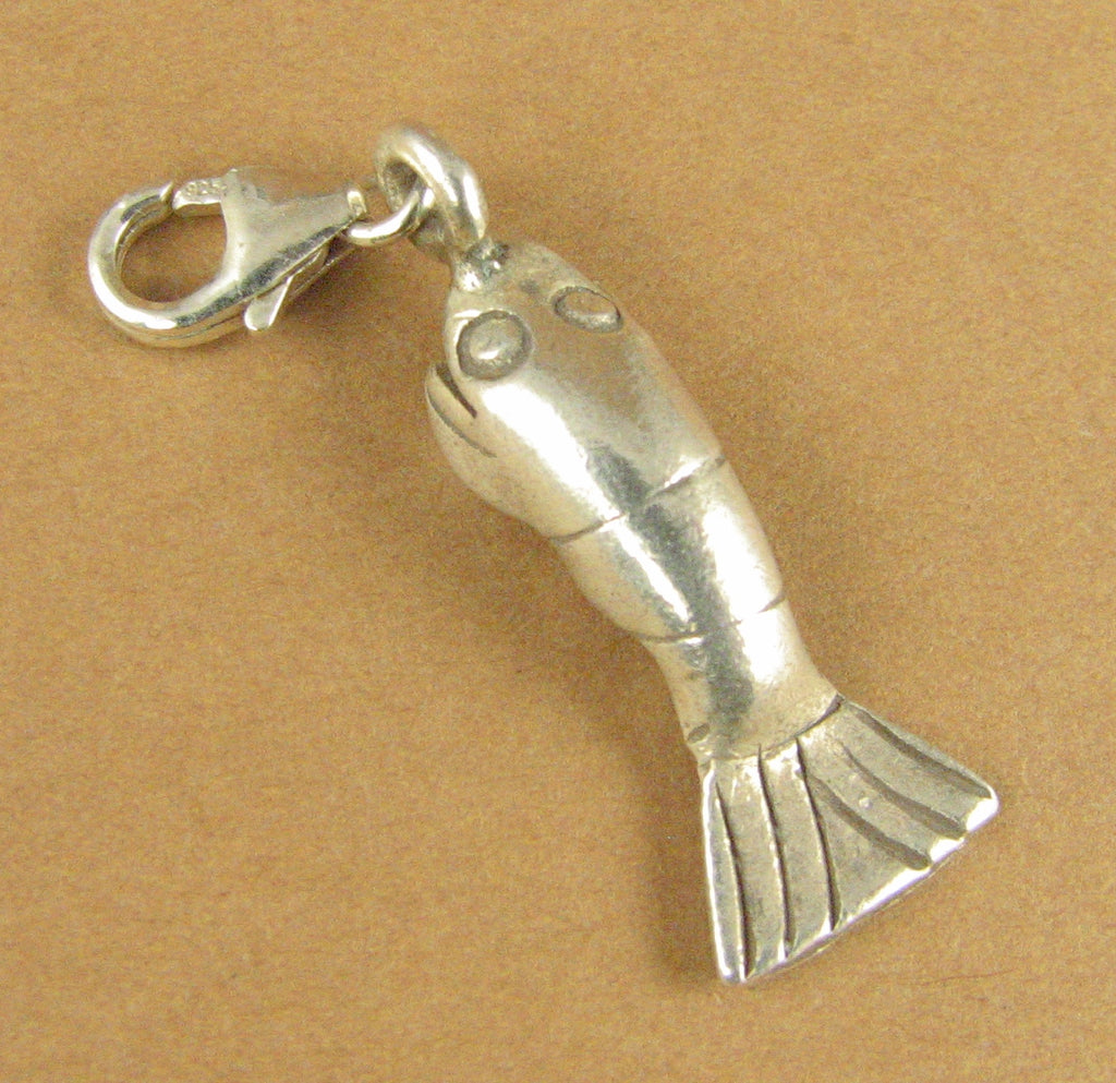 Catfish clip-on charm. Sea life Round. Secure lobster clasp.Sterling silver 925.