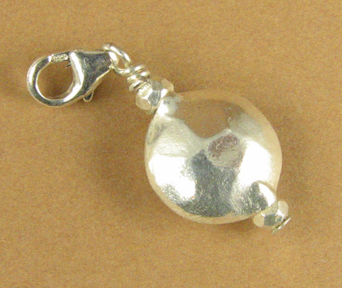Hammered silver ball/disc clip-on charm. fine &sterling silver 925. Handmade.