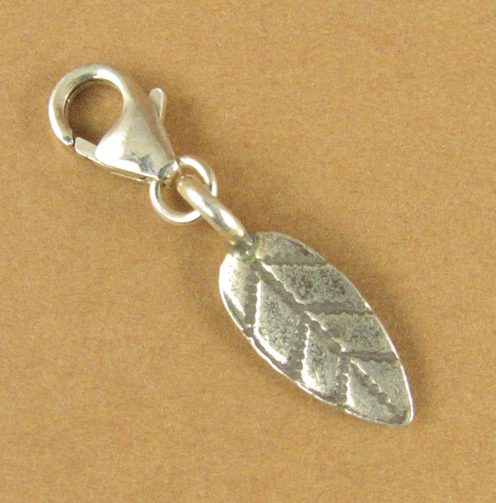 Leaf clip-on charm. Long. Willow. Small. Lobster clasp. Sterling silver 925.