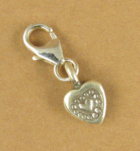 Tiny heart clip-on charm. Stamped. Lobster clasp. Sterling silver 925.