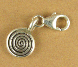 Spiral disc silver clip-on charm. Lobster clasp. Sterling silver 925. Handmade.