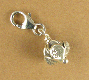 Fancy bead flower shaped clip-on charm. Sterling silver 925. Handmade.