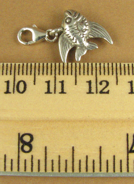 Fish clip-on charm. Angelfish. 2 sided. Sea life. Lobster clasp. Sterling silver 925.