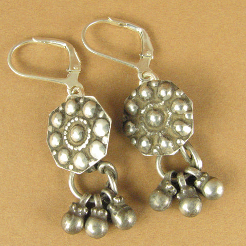 Old Indian tribal silver earrings. Dangles. Fine silver. Sterling silver hooks.